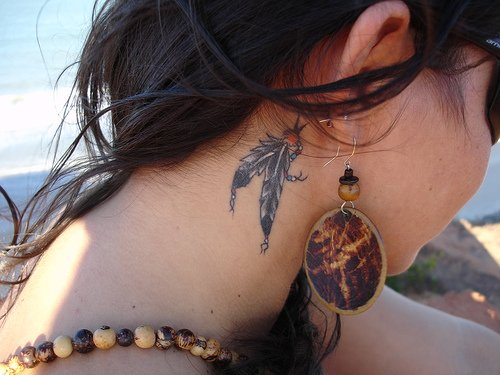 neck back tattoos for girls