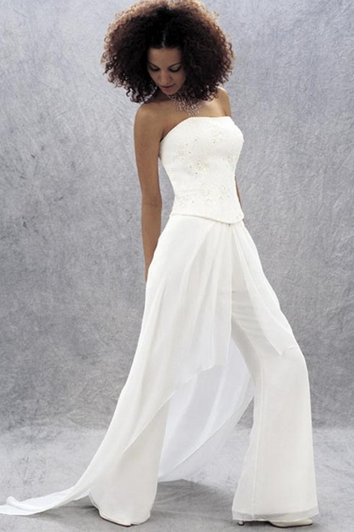 10 non traditional wedding dresses for the non traditional for Dress pant suits for weddings