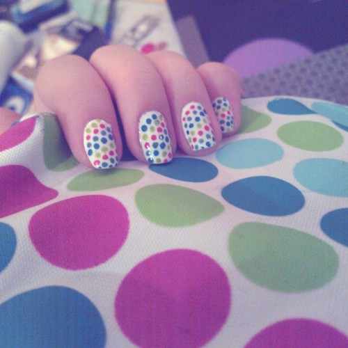 Diy funky nail arts at home you can apply a light base color and then adorn your nails with dark color polka dots using nail polish pens needles or even a toothpick prinsesfo Images