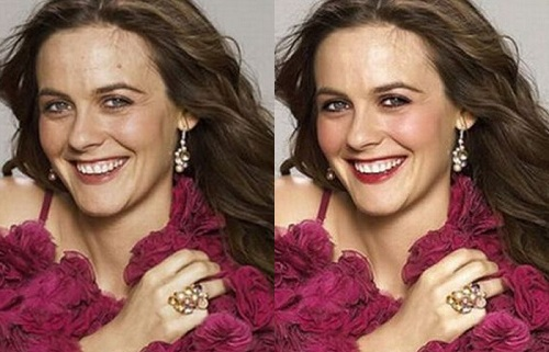 Alicia Silverstone Before Photoshop (left) and After Photoshop (right)