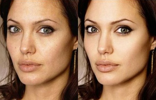 Angelina Jolie Before Photoshop (left) and After Photoshop (right)