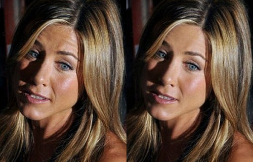 Jennifer Aniston Before Photoshop (left) and After Photoshop (right)