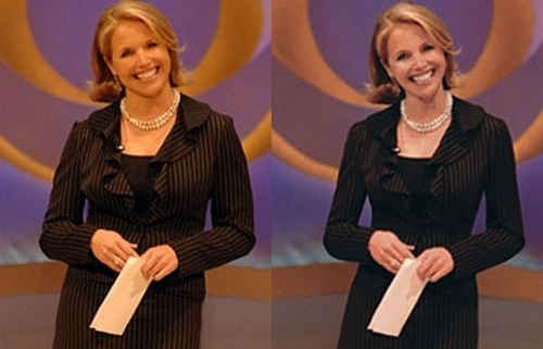 Katie Couric Before Photoshop (left) and After Photoshop (right)