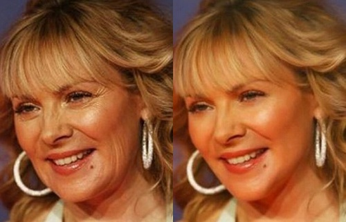 Kim Cattrall Before Photoshop (left) and After Photoshop (right)