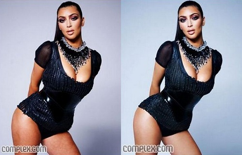Kim Kardashian Before Photoshop (left) and After Photoshop (right) - image via