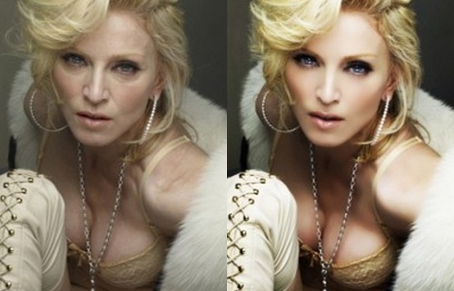 Madonna Before Photoshop (left) and After Photoshop (right)