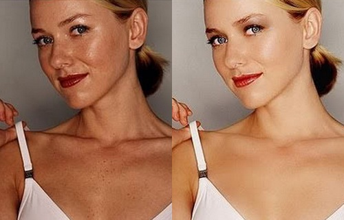 Naomi Watts Before Photoshop (left) and After Photoshop (right)