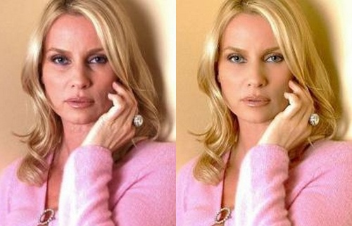 Nicolette Sheridan Before Photoshop (left) and After Photoshop (right)