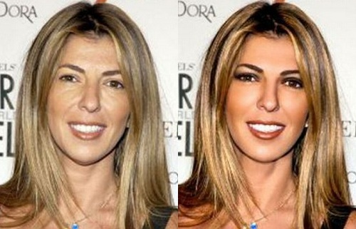 Nina Garcia Before Photoshop (left) and After Photoshop (right)