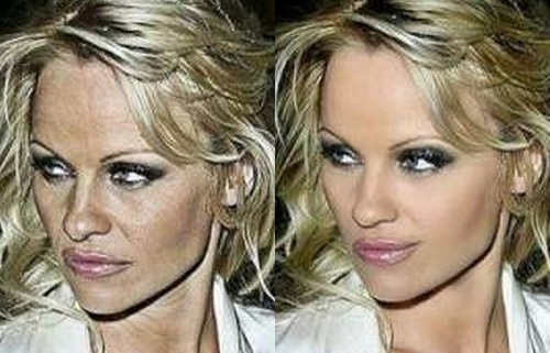 Pamela Anderson Before Photoshop (left) and After Photoshop (right)