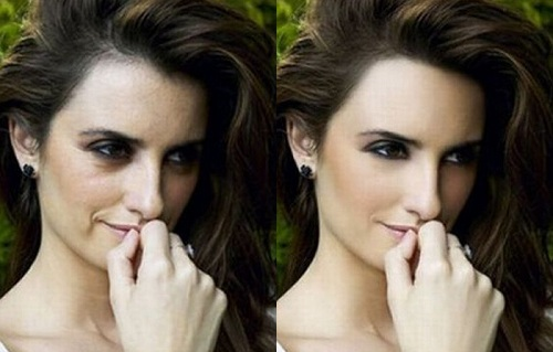 Penelope Cruz Before Photoshop (left) and After Photoshop (right)