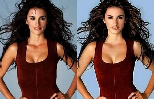 Penelope Cruz Before Photoshop (left) and After Photoshop (right) Again