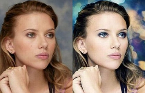 Scarlett Johansson Before Photoshop (left) and After Photoshop (right)