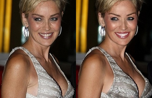 Sharon Stone Before Photoshop (left) and After Photoshop (right)