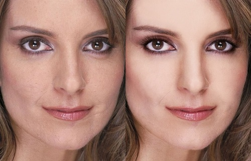 Tina Fey Before Photoshop (left) and After Photoshop (right)