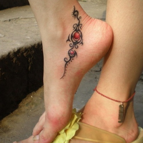 Cute Foot Tattoo Designs for Girls tribal