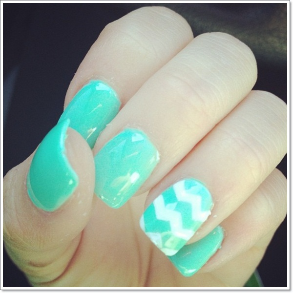 teal gel nail designs